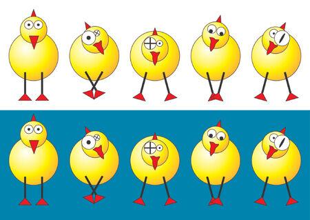 pollitos: Pollitos de Pascua con diferentes caras y posiciones sobre fondo blanco y azul