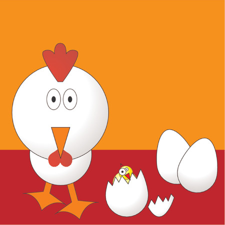 Easter chicken with eggs and chick over orange background Stock Vector - 709330