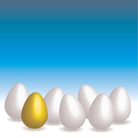 Easter eggs. Golden egg over blue gradient background Stock Vector - 709332