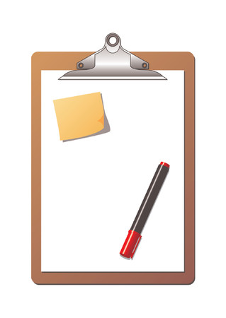 Clipboard with blank sheet of paper, one post it note and one red highlighter marker over white background Vector