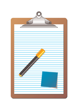 Clipboard with ruled sheet of paper, one post it note and one highlighter orange marker over white background Vector