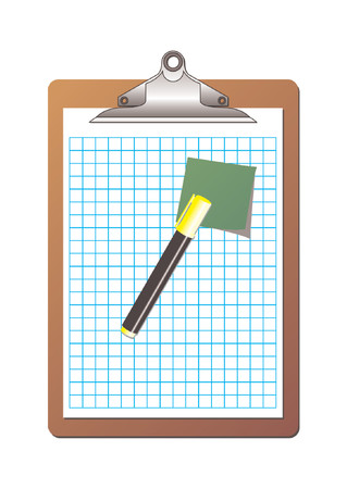 Clipboard with checkered sheet of paper, one post it note and one yellow highlighter marker over white background Vector