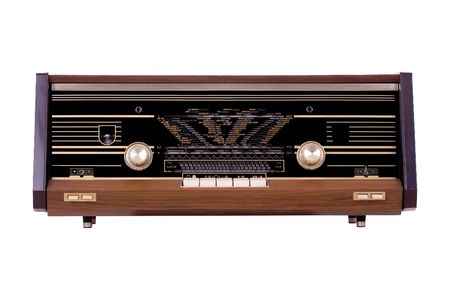Vintage radio over white background photo