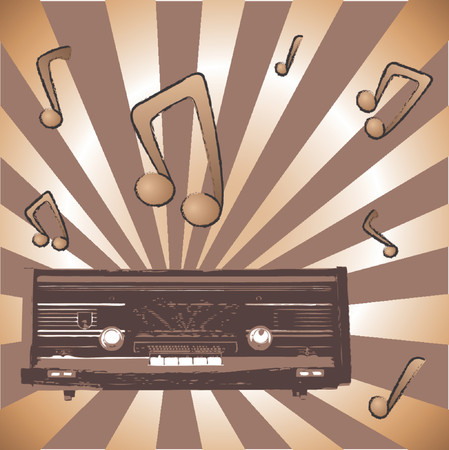 Vintage radio with grunge look over abstract background Vector