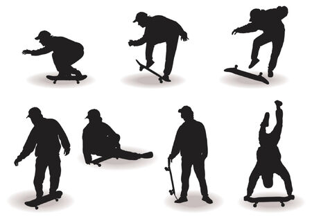 Skateboard boy silhouettes with different poses over white background