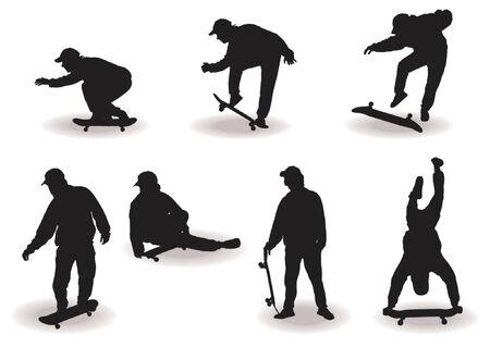 skateboard park: Skateboard ni�o con diferentes siluetas plantea sobre fondo blanco Vectores