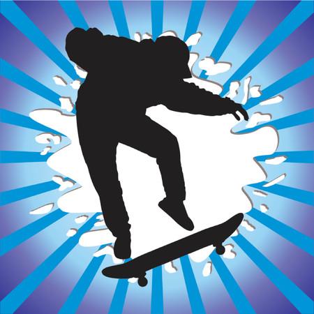 skateboard park: Skateboard ni�o silueta sobre fondo abstracto Vectores