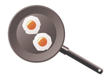 Fried eggs in a frying pan Vector