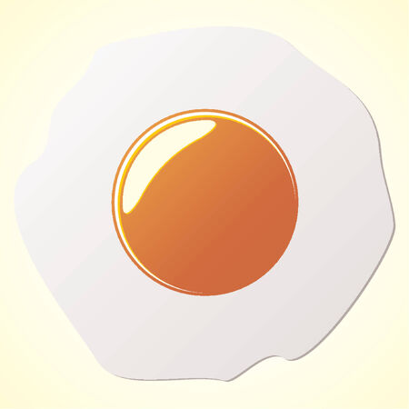 Fried egg over yellow gradient background Vector