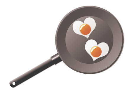 Fried eggs with the shape of a heart in a frying pan Vector