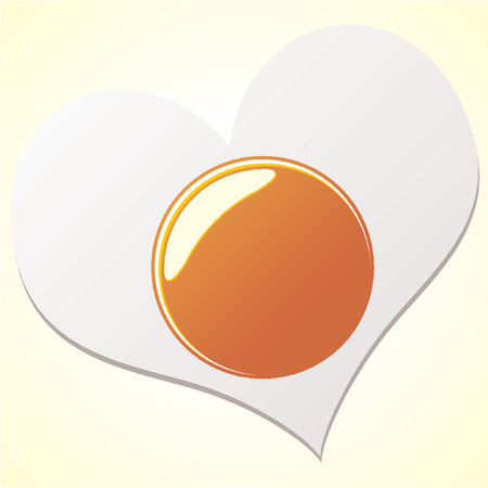 Fried egg with the shape of a heart over yellow gradient background Vector