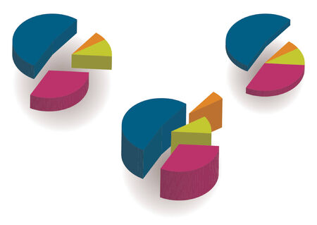 population growth: 3D pie charts over white background Illustration