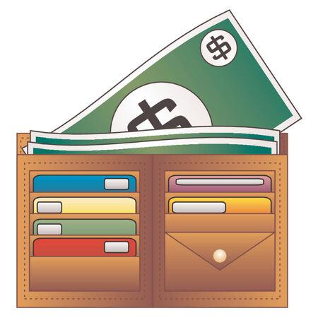 bolsa dinero: Monedero dinero y tarjetas de cr�dito Vectores
