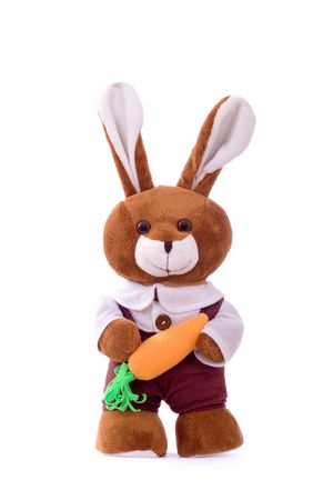 plushy: Stuffed bunny with carrot over white background