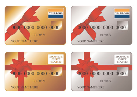 Credit cards. Debit cards. Gold and Silver bonus gift cards. Insert your logos and replace the text is very easy. Stock Vector - 758124