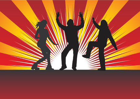 changed: People dancing silhouettes over abstract background.Colors can be changed very easily.
