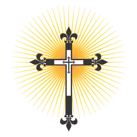 Crucifix. Cross with light passing through Illustration