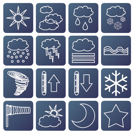 meteorologic: Signs with different kind of meteorologic symbols Illustration