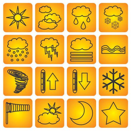 Signs with different kind of meteorologic symbols Illustration
