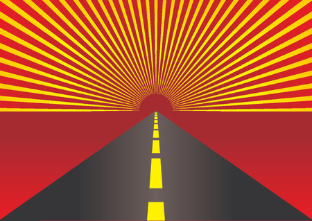 fluted: Empty highway with abstract pattern in the horizon Illustration