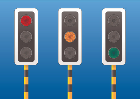 onward: Three traffic lights each one with a different light on