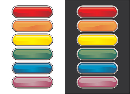 rollover: Vectorial glass buttons with different colors. One set with black stroke over white background and other set with white stroke over black background
