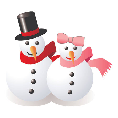 Snowman and snow woman over white background Stock Vector - 765948