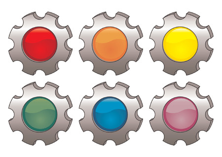 gearings: Vectorial glass buttons with different colors incrusted in cogwheels Illustration