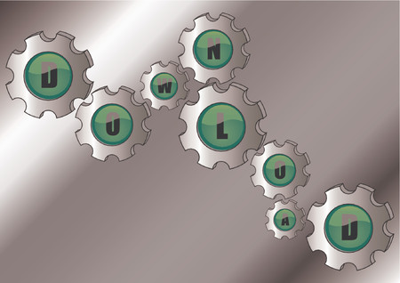 gearings: Vectorial glass buttons incrusted in cogwheels with the word DOWNLOAD Illustration