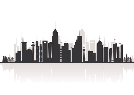 river vector: Silhouette buildings. City skyline with reflex.