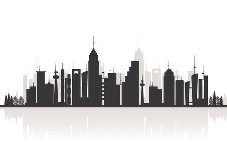 garden city: Silueta de los edificios. Horizonte de la ciudad con el reflejo. Vectores