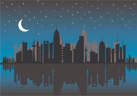 river vector: Silhouette buildings. City skyline by night with reflex.