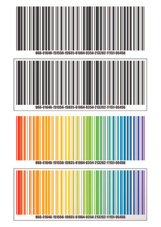 import trade: Barcode template over white background. Text and colors can easily be replaced. Black and white and rainbow version.