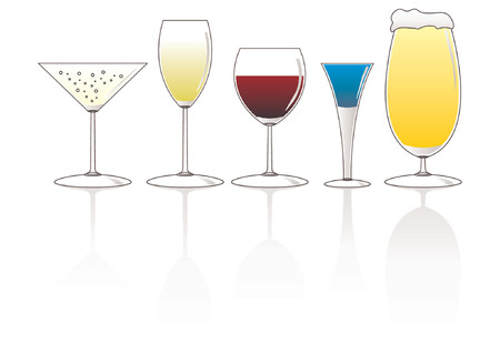 종류: Set of different kind of glasses and drinks over white background 일러스트