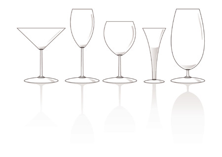 shots alcohol: Set of different empty glasses over white background Illustration