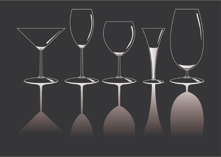 sophisticate: Set of different empty glasses over black background