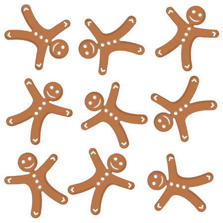 Gingerbread cookies pattern over white background Stock Vector - 791386