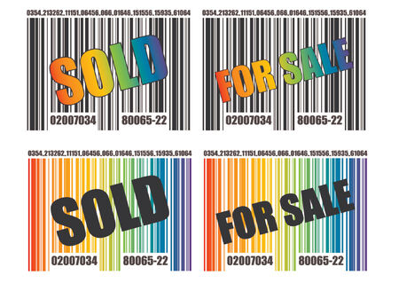 replaced: Barcode template over white background. Text and colors can easily be replaced. Black and white and rainbow version.