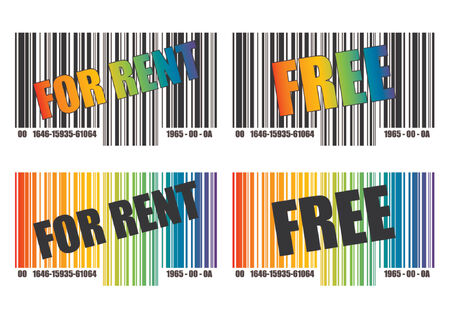 Barcode template over white background. Text and colors can easily be replaced. Black and white and rainbow version. Vector