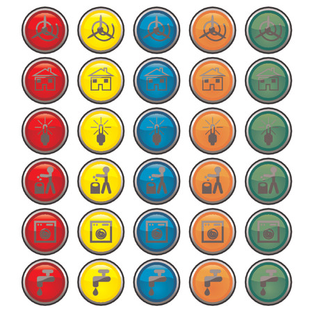 electrical appliance: Vectorial de vidrio botones con diferentes tipo de energ�a ecol�gica y s�mbolos  Vectores