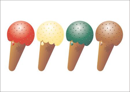 Ice cream. Strawberry, chocolate, vanilla and pistachio icecream cones over white background Vector