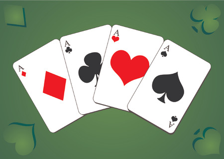 poker hand: Playing cards. Four aces poker hand over green table game as background Illustration