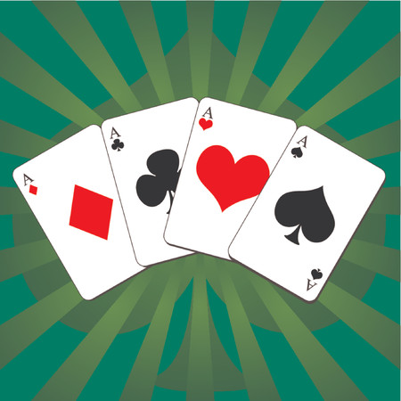 poker hand: Playing cards. Four aces poker hand over green tone abstract background