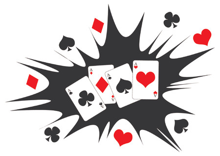 play card: Playing cards. Four aces poker hand over black and white abstract background