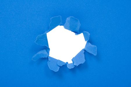 boring frame: Big hole in a blue sheet of paper