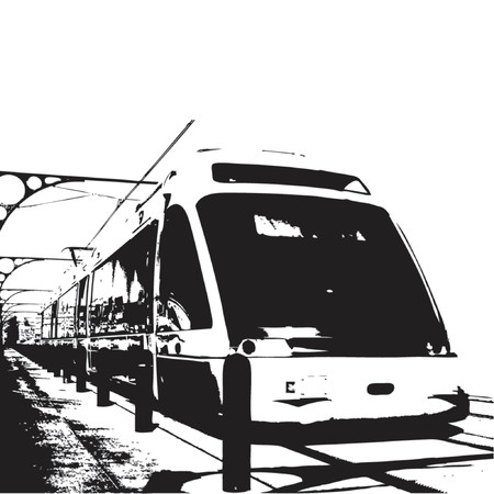 vacancies: Train passing by over white background Illustration