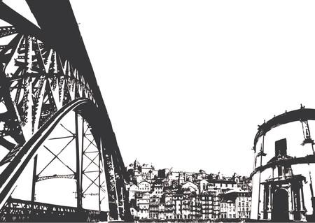 Stedelijke gebouwen landschap over witte achtergrond Vector Illustratie