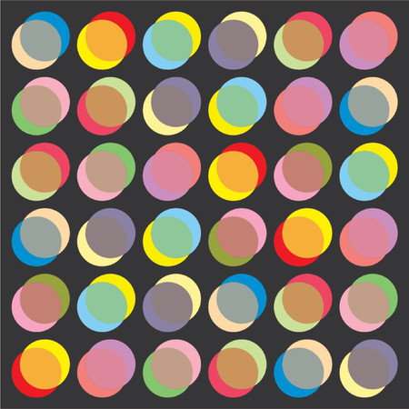 Abstract pattern with different circles and colors over black background Ilustrace