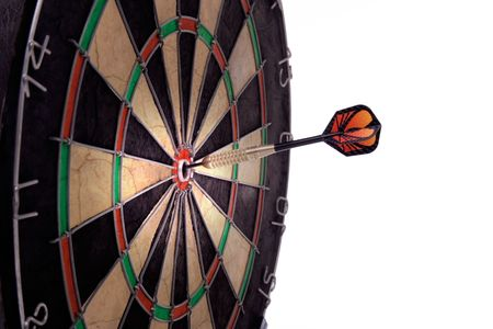 Dartboard with one dart on bulls-eye Stock Photo - 831315