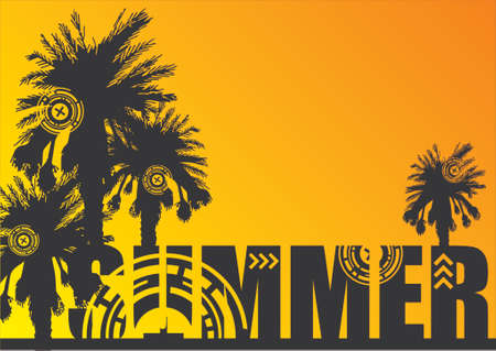 Palm tree silhouettes on top of the word SUMMER over orange and yellow gradient background Stock Vector - 839184